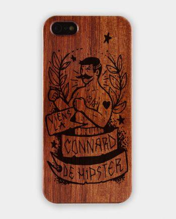 """Coque Téléphone WoodLife """"Viens là connard de Hipster"""" en bois."""
