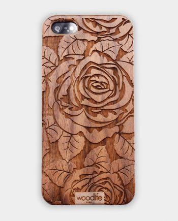 """Coque Téléphone WoodLife """"Rose"""" en bois."""