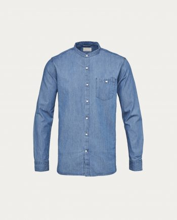 knowledge_cotton_apparel_chemise_denim_stand_collar_gots
