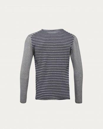 knowledge_cotton_apparel_pull_fine_knit_striped_back_grey_1