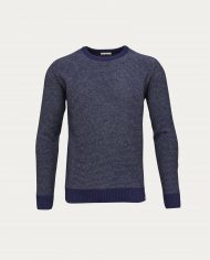 knowledge_cotton_apparel_pull_stripped_round_neck_bleu