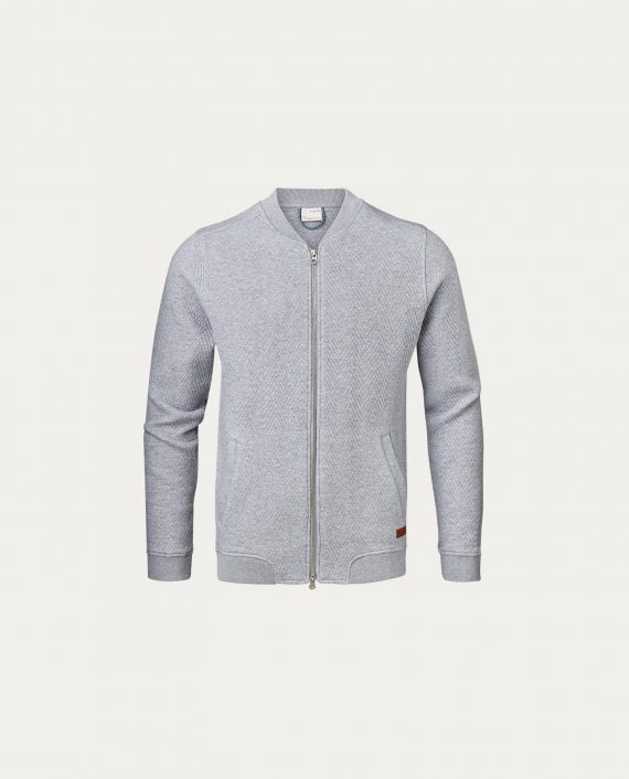 knowledge_cotton_apparel_gilet_quilted_zip_cardigan_gris