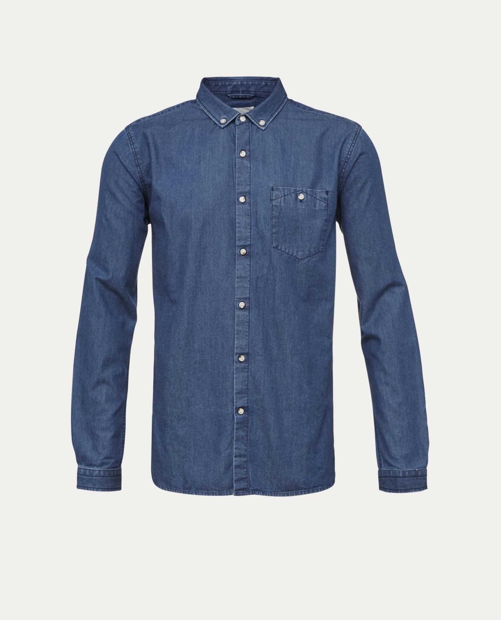 knowledge cotton apparel chemise denim shirt concept store barbier coiffeur pour l 39 homme. Black Bedroom Furniture Sets. Home Design Ideas