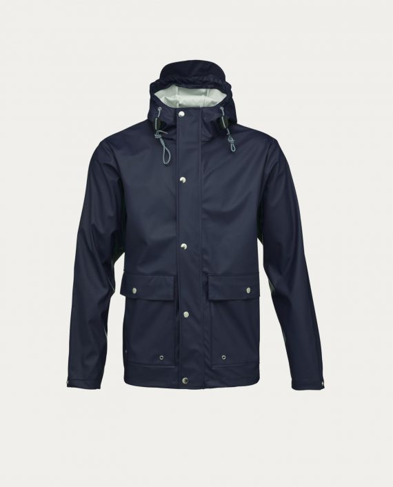 knowledge_cotton_apparel_rain_jacket_bleu