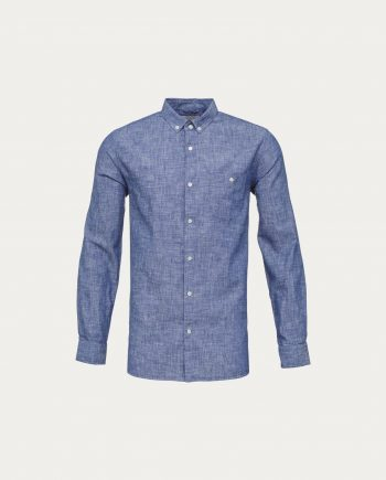 knowledge_cotton_apparel_chemise_cotton_linen_bleu
