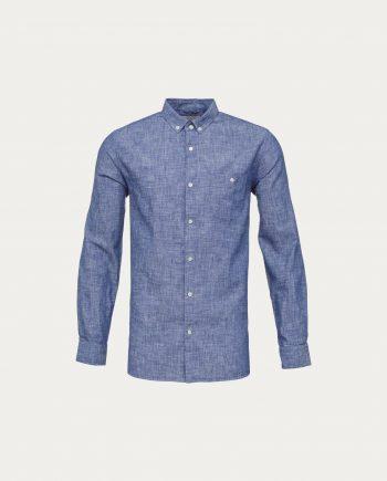 knowledge_cotton_apparel_chemise_cotton_linen_bleu