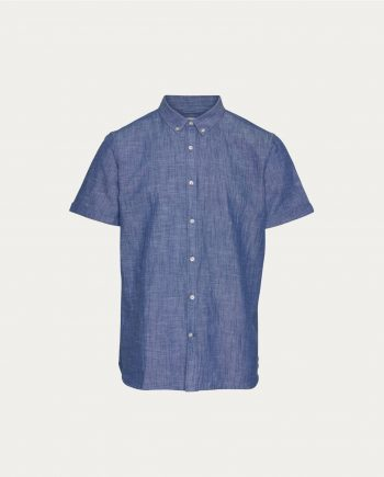 tonsor_cie_knowledge_cotton_apparel_ chemise _short_sleeved_cotton_linen_bleu
