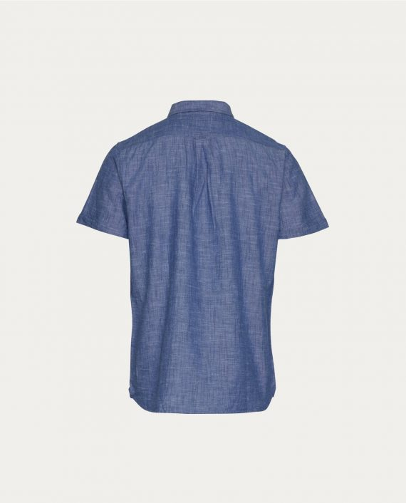 tonsor_cie_knowledge_cotton_apparel_ chemise _short_sleeved_cotton_linen_bleu_1