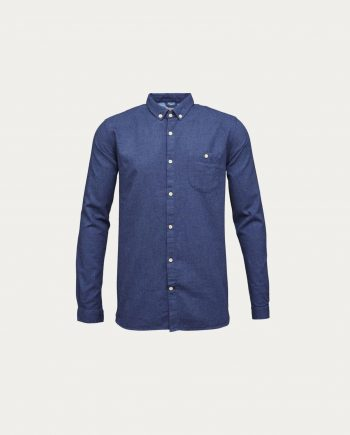 knowledge_cotton_apparel_melange_effect_flannel_shirt_bleu